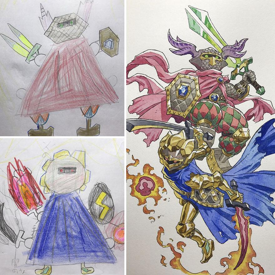 150295886340403 - 插畫家老爸把「兒子塗鴉的怪獸」重新畫一次,網友看到作品後大讚:「有神快拜!」