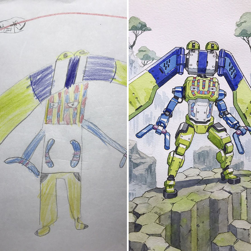 150295886447755 - 插畫家老爸把「兒子塗鴉的怪獸」重新畫一次,網友看到作品後大讚:「有神快拜!」