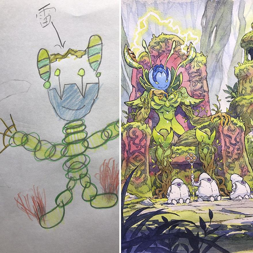 150295887224071 - 插畫家老爸把「兒子塗鴉的怪獸」重新畫一次,網友看到作品後大讚:「有神快拜!」