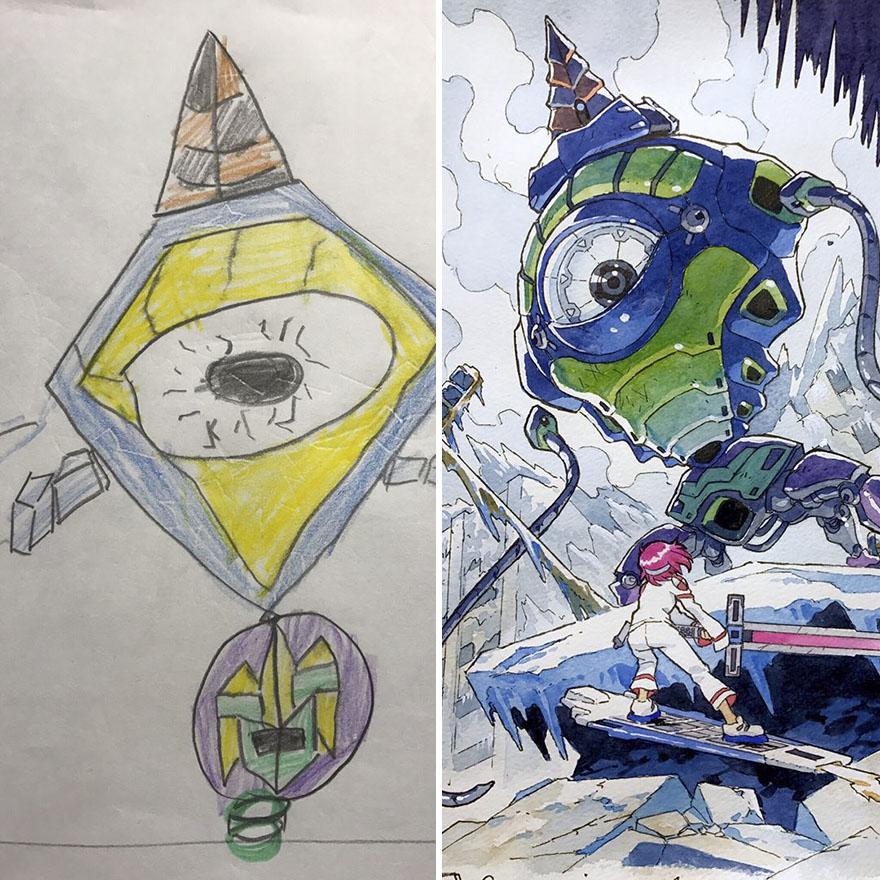 150295887667589 - 插畫家老爸把「兒子塗鴉的怪獸」重新畫一次,網友看到作品後大讚:「有神快拜!」