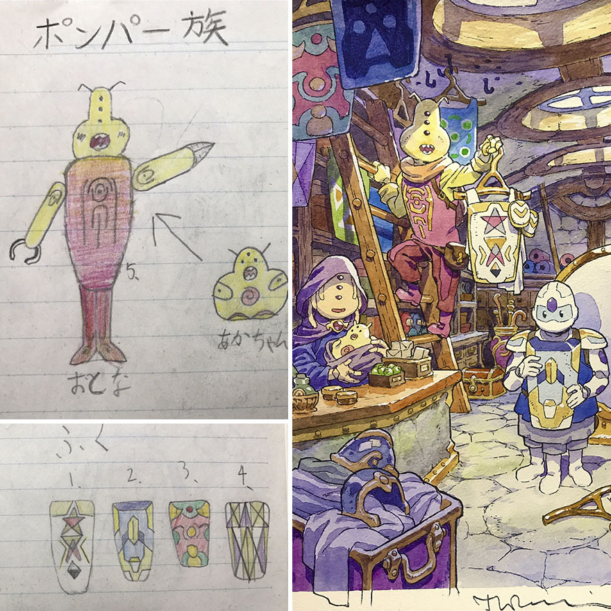 150295887880075 - 插畫家老爸把「兒子塗鴉的怪獸」重新畫一次,網友看到作品後大讚:「有神快拜!」