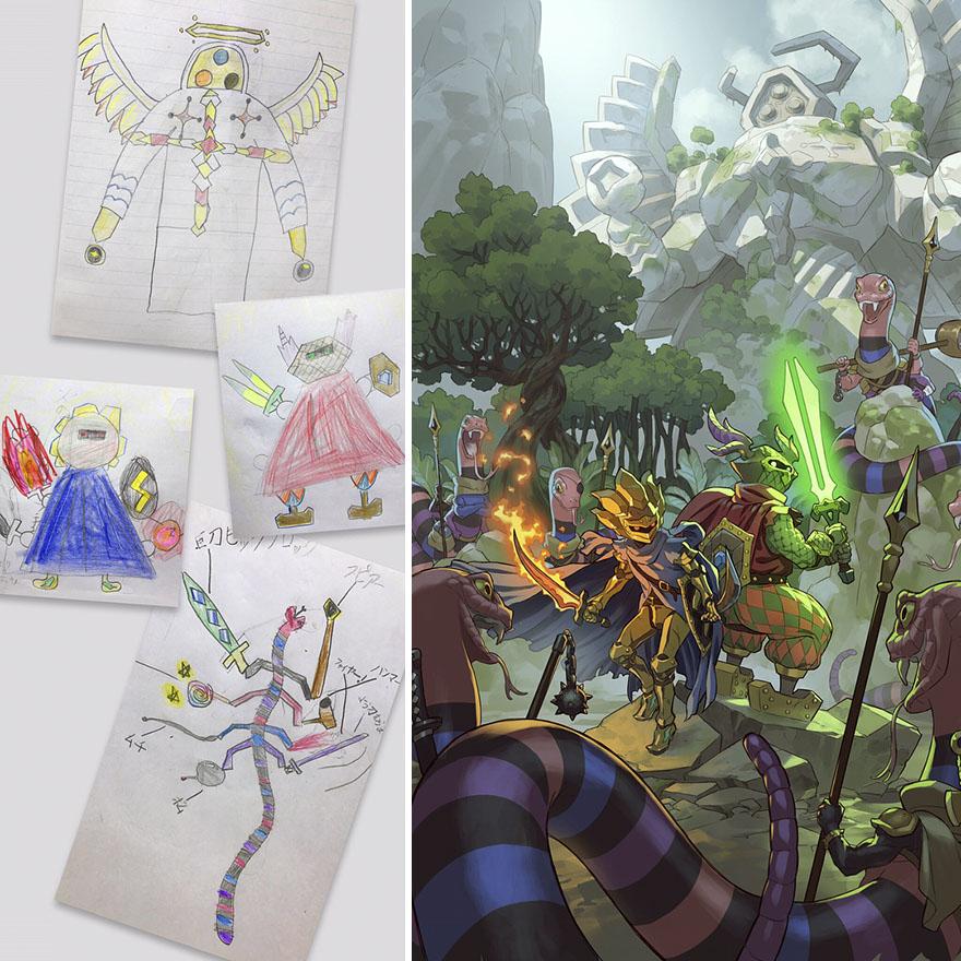 150295887994746 - 插畫家老爸把「兒子塗鴉的怪獸」重新畫一次,網友看到作品後大讚:「有神快拜!」