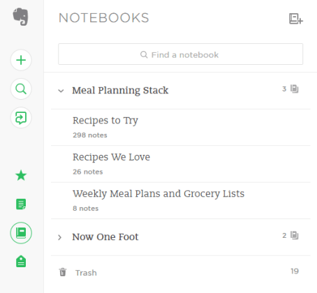 Evernote Notebooks - Now One Foot