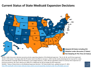 Medicaid Expansion Map Feb 2015, Source Kaiser Family Foundation