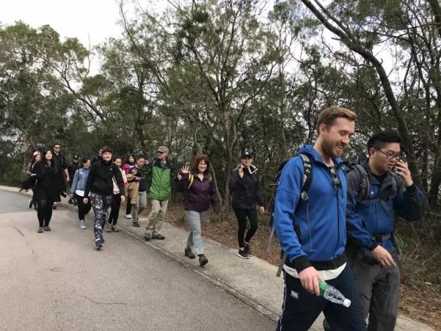 Multinational hiking group