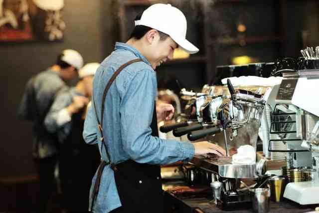 barista a coffee machine