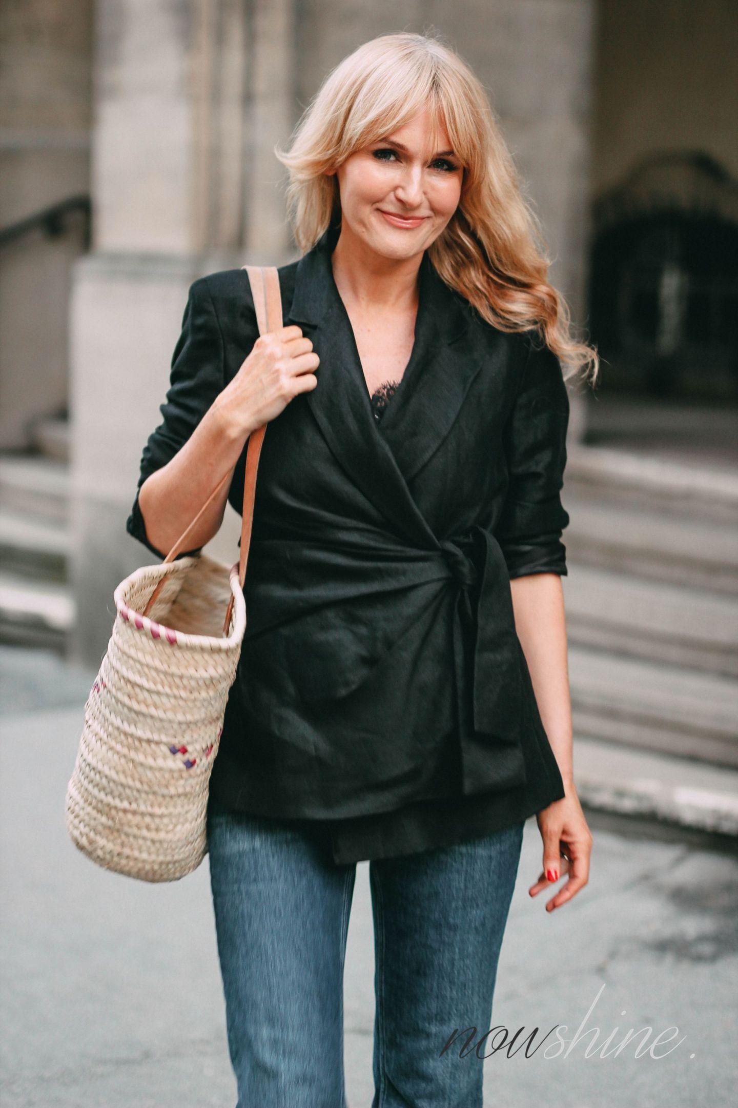Klassiker schwarzer Leinenblazer Zara - Trend 2018 - Nowshine Fashion ü40