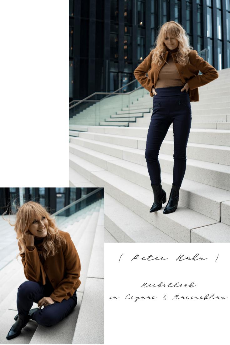Schlupfhose von Peter Hahn - Nowshine Modeblog ü40 - Herbstlook 2019 in Marine und Cognac mit Cowboy Stiefeln