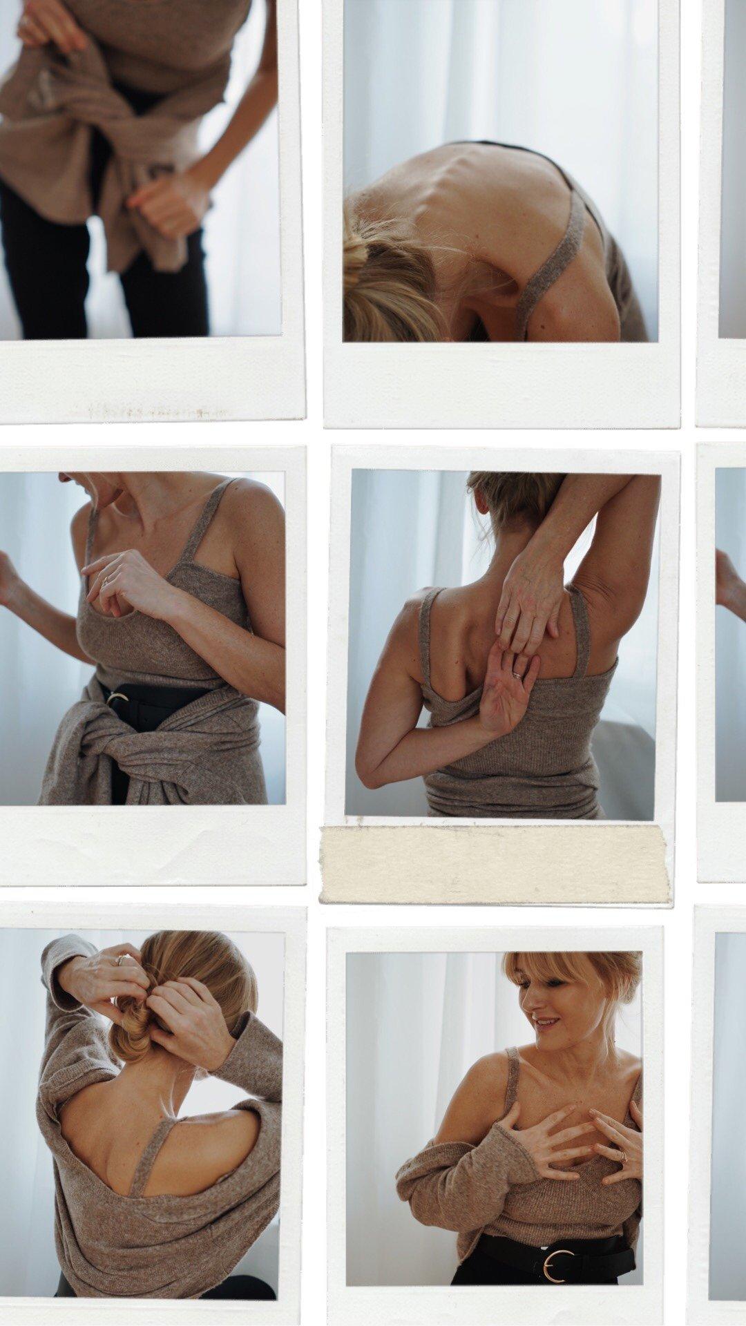 Nowshine ü40 Blog trägt BH und Strickjacke wie Katie Holmes Khaite NY Kaschmir Set Kopie von Zara
