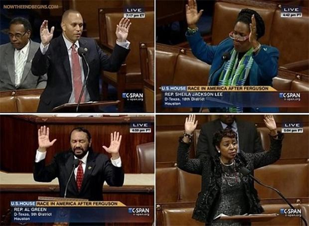 democrat-lawmakers-make-hands-up-dont-shoot-michael-brown-gestures-on-house-floor-congress-ferguson-race-baiters