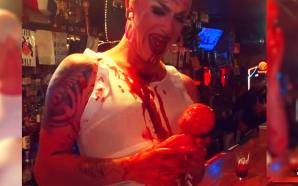 Video out of New York shows a drag queen simulating cutting a baby out of her womb, drinking blood and pulling its head off as onlookers in a bar cheer.
