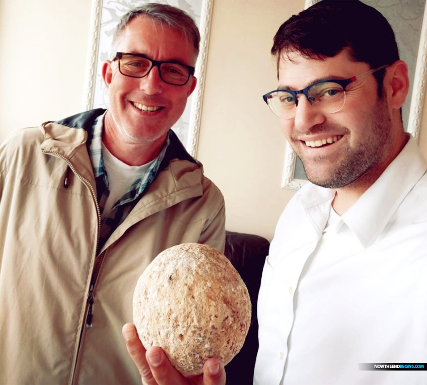 Uzi Rotstein of the Israel Antiquities Authority, left, with Moshe Manies and with the returned ballista stone.