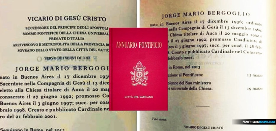The person of Jorge Mario Bergoglio, who has officially disavowed being the Vicar of Christ in the 2020 Pontifical Yearbook, the Holy See's annual directory
