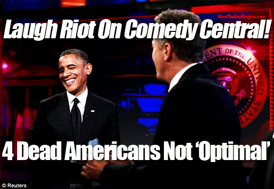 Obama says 4 dead Americans not optimal on Daily Show with Jon Stewart