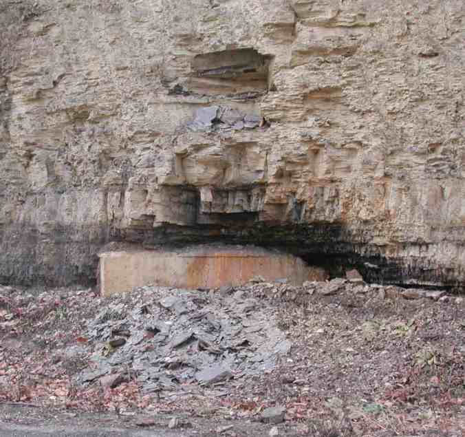 Sealed coal mine along Painters Run Road in Mount Lebanon. Pitt's Geology department ranks it the best place to see what remains of the vaunted Pittsburgh Coal Seam. Information on directions and parking are available here.