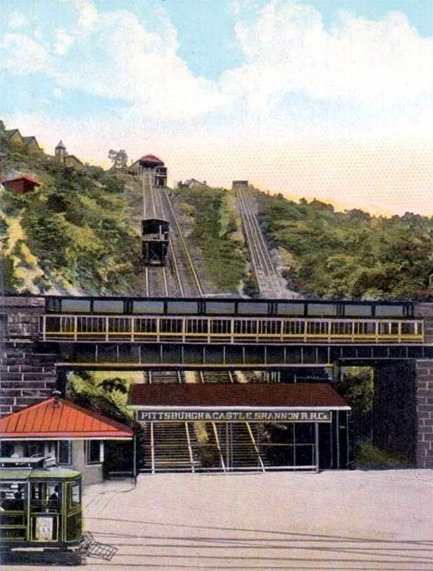 Postcard image (hand-colored and doctored to look nice) shows new passenger incline on left next to old coal one. The coal incline was dismantled in 1912. The other one lasted until 1964.