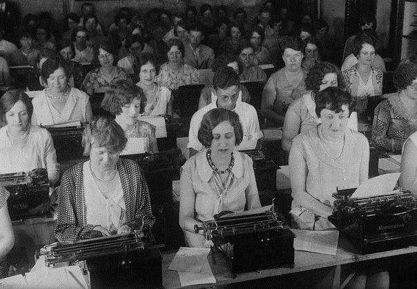 Competition to get into typing pools was fierce in the 1920s and 1930s. One way to get in was to win a contest. That's what is happening here in 1929.