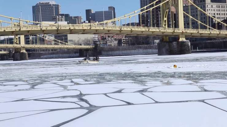 Modern view of semi-frozen Allegheny River. Not too bad until all the ice breaks free at once -- and you in the way.