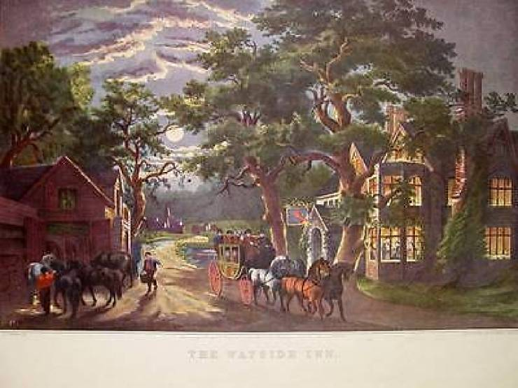 Currier & Ives print of a wayside inn in Sudbury, MA, made famous in the epic (read that