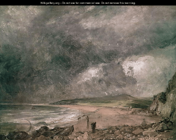 "Storms were more severe in the ""summer"" of 1816 as captured in this painting of one approaching Weymouth Bay in England by John Constable."