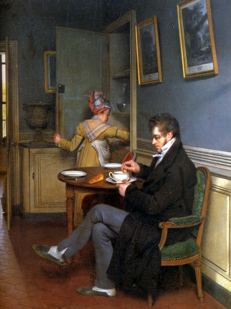 A gentleman relaxing at home in his dining room. Note the backless slippers. The well-dressed maid likely wore the same outfit the day before, and the day before that.