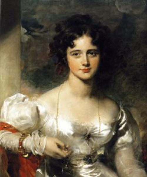 Rosamund Croker by Thomas Lawrence. The cleavage broach appears to be pinned to the corset's breast separator.