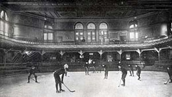 These Canadian students inside the Casino at Schenley Park were the first  ice hockey players seen by Pittsburghers. They played with a puck rather than a ball. Local students quickly switched over.
