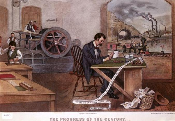 Currier&Ives print is an imaginary scene showing technological advances of the 19th Century, but for all intents and purposes, it could be Pittsburgh. The telegraph figures prominenty. Steam, as manifested in trains, river boats, and even a printing press, powered Western nations into the 20th Century.