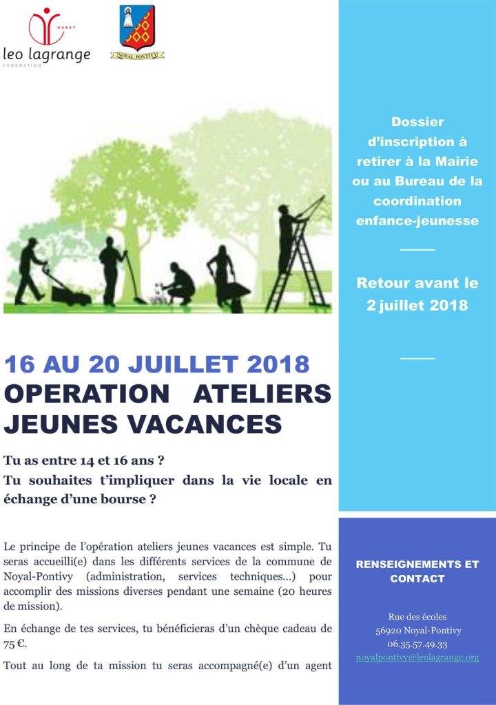 Ateliers Jeunes Vacances Juillet 2018