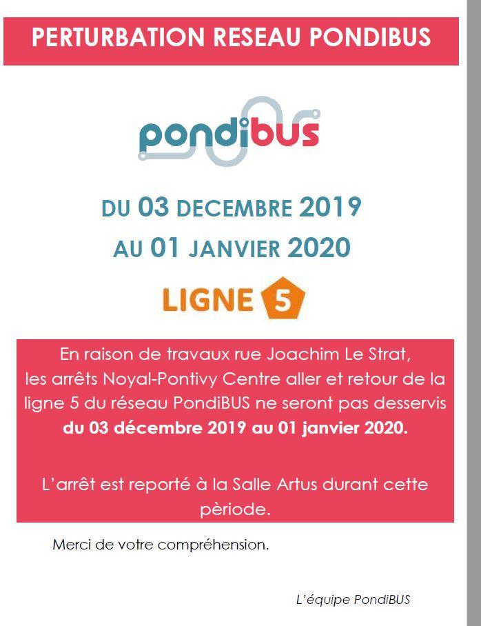 Perturbation Réseau PondiBUS et Transport scolaire