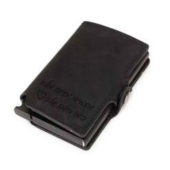 ארנק עור שחור עם חריטה קליפס