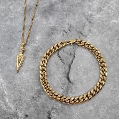 סט צמיד זהב ושרשרת חץ לגבר