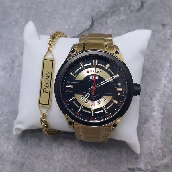 סט שעון וצמיד זהב לגבר