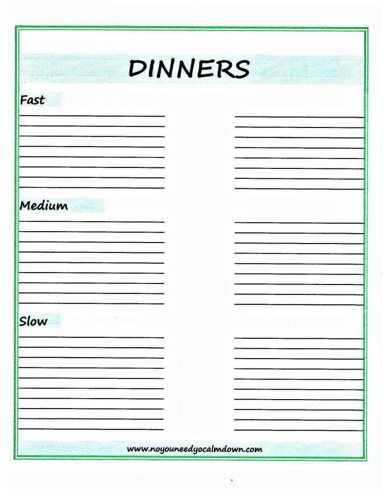 Dinner Ideas Fast,Medium, and Slow - Free Printable