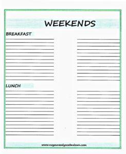 Weekend Meals Printable