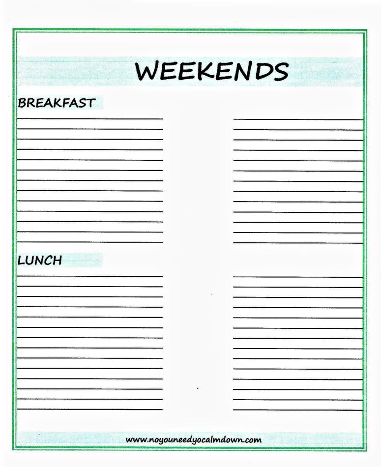 Weekends Breakfast and Lunch Ideas Free Printable