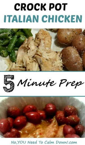 This Crock Pot Italian Chicken can be prepped in just a few minutes! Simple ingredients make this a family favorite!
