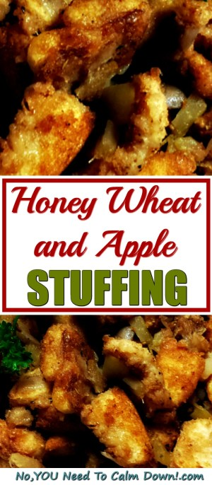 If you love traditional stuffing, but wouldn't mind changing it up just a little, try this delicious twist! Honey wheat and apple stuffing makes a great side for any holiday meal. #stuffing #applestuffing #holidaydinner #thanksgiving
