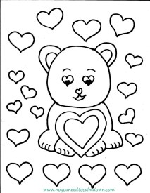 Cute Bear Valentine's Day Coloring Page – Free Printable