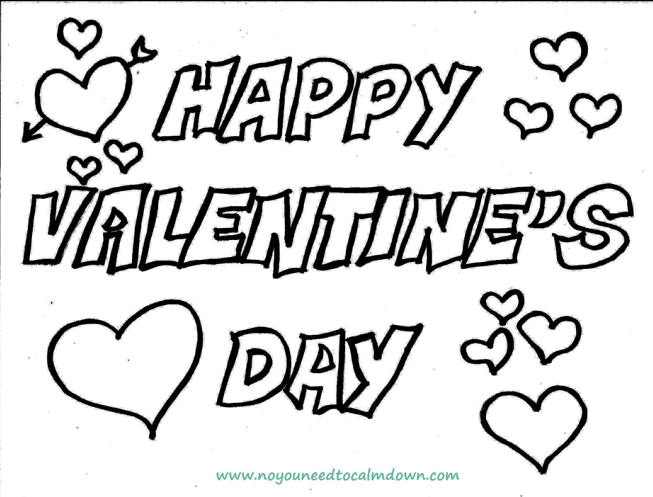 Happy Valentines Day Coloring Page Free Printable No YOU Need