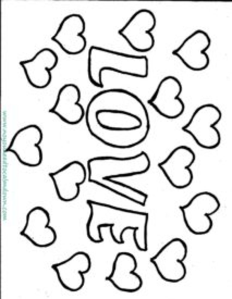 love valentine's day coloring page