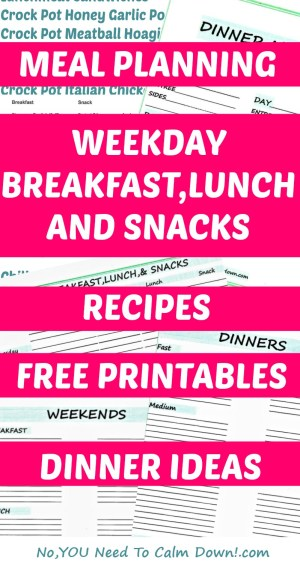 Make meal planning easier! Free printables including dinner menu, dinner ideas, weekly breakfast,lunch, and snacks, weekend meals, and recipes,too!