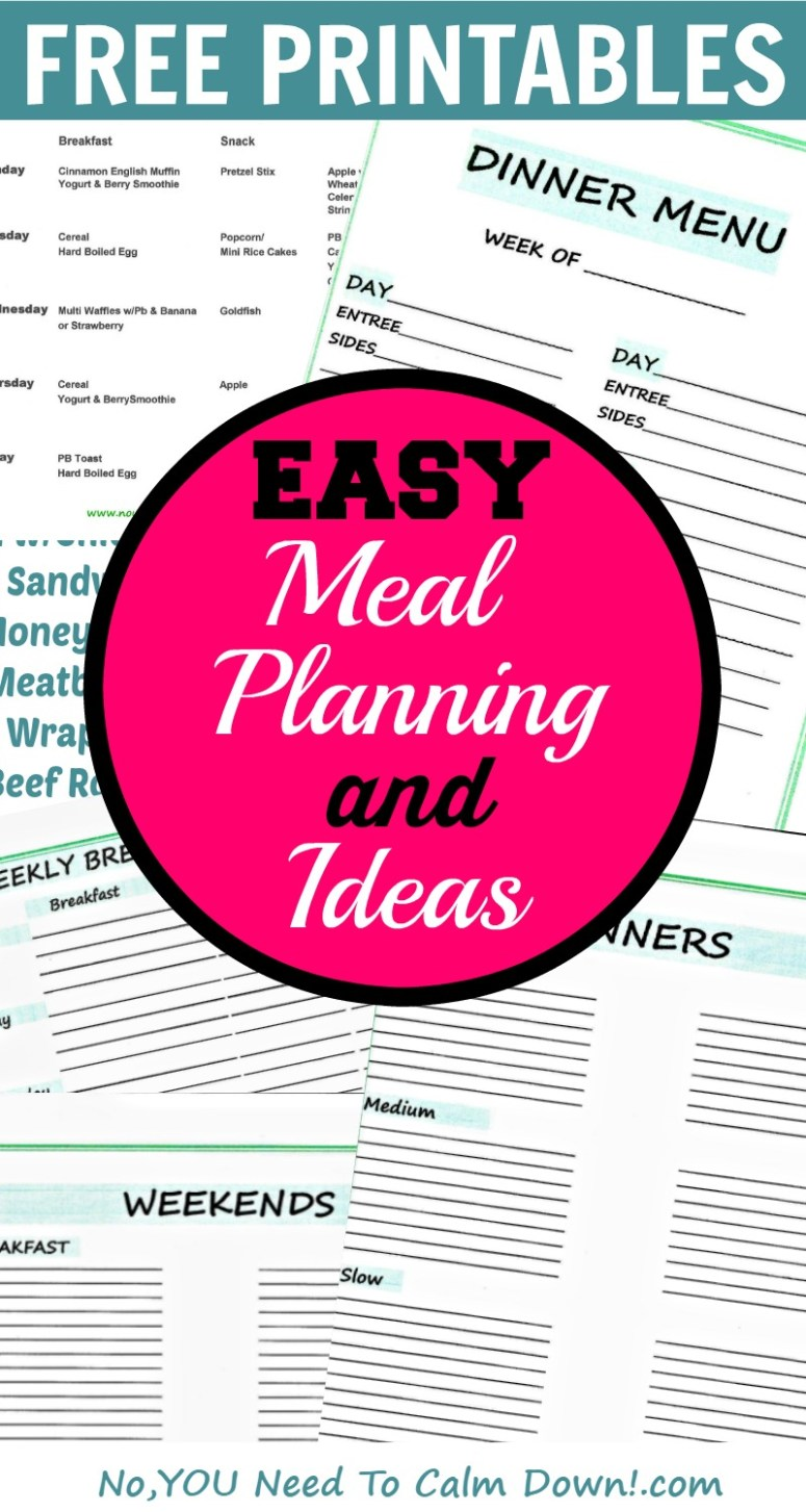 Meal planning made easy! Dinner ideas, weekday breakfast,lunch, and snack plans, recipes, and free printables to write it all out!