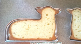 Easter lamb cake prep