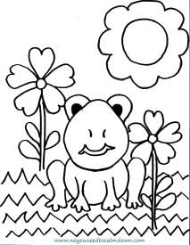 Spring Frog Coloring Page