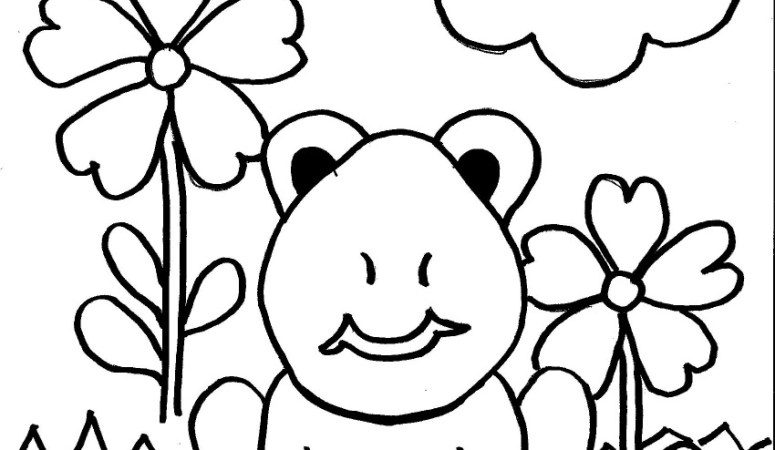 Spring Frog Coloring Page for Kids – Free Printable