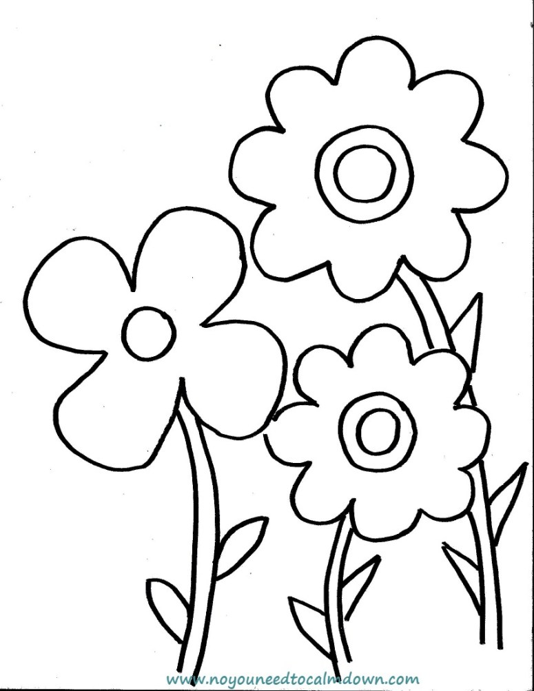 Spring Flowers Coloring Page for Kids Free Printable No YOU