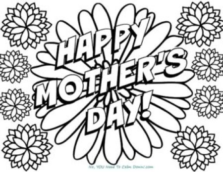 Happy Mother's Day Flowers Coloring Page - free printable