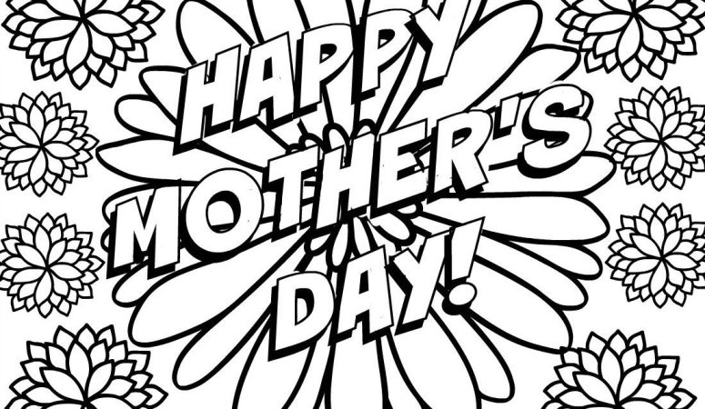 Happy Mothers Day Flowers Coloring Page