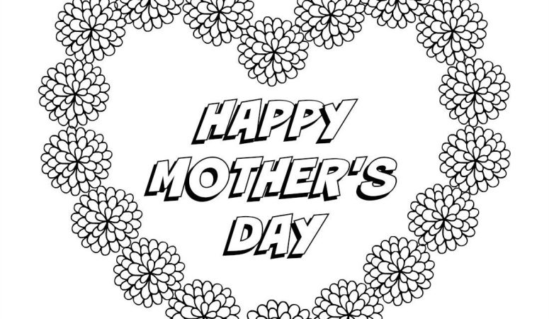 Happy Mother's Day Heart coloring page - free printable